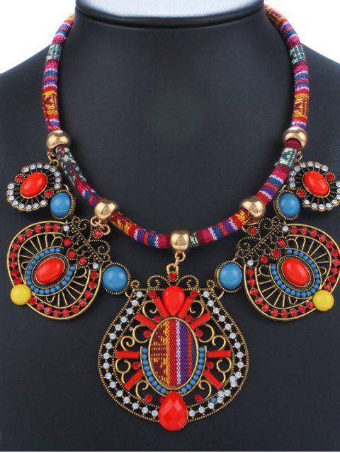 best Rhinestone Enamel Geometric Necklace - RED  Mobile