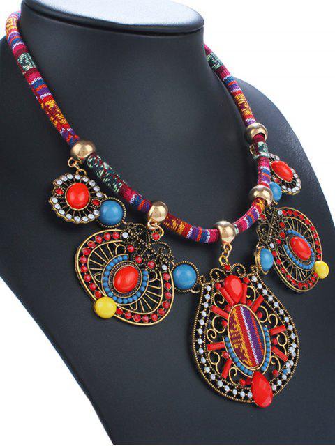 Collier émail et bijou faux strass géométriques - Rouge  Mobile