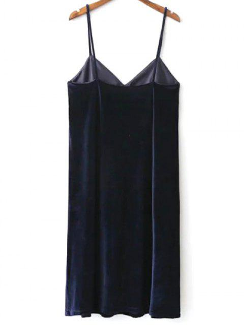 outfit Velvet Cami Slip Dress - PURPLISH BLUE L Mobile