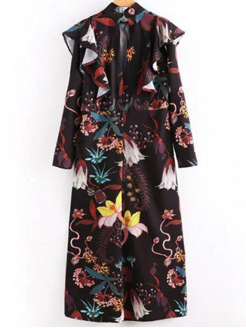 lady High Neck Printed Ruffled Maxi Dress - COLORMIX M Mobile