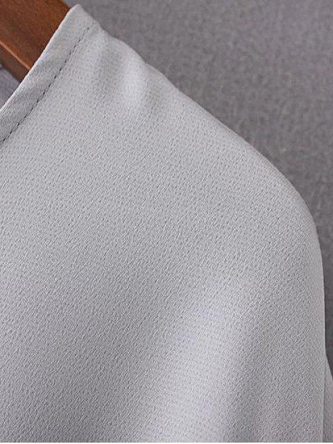 shop Shirred Sleeve Chiffon Top - GRAY M Mobile