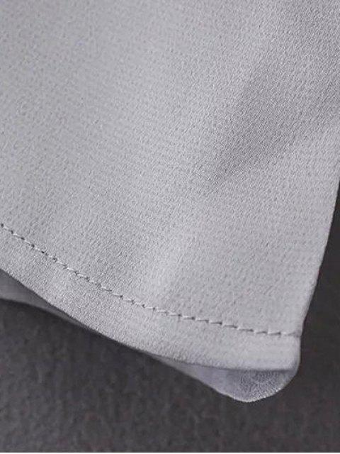 Chemisier en mousseline de soie à manches plissées - Gris M Mobile