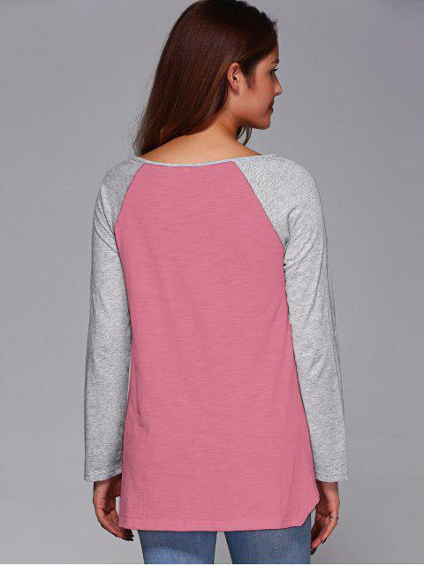 buy Raglan Sleeve Asymmetrical Tee - PINK 2XL Mobile
