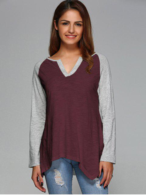 lady Raglan Sleeve Asymmetrical Tee - WINE RED M Mobile
