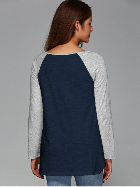 hot Raglan Sleeve Asymmetrical Tee - PURPLISH BLUE M Mobile