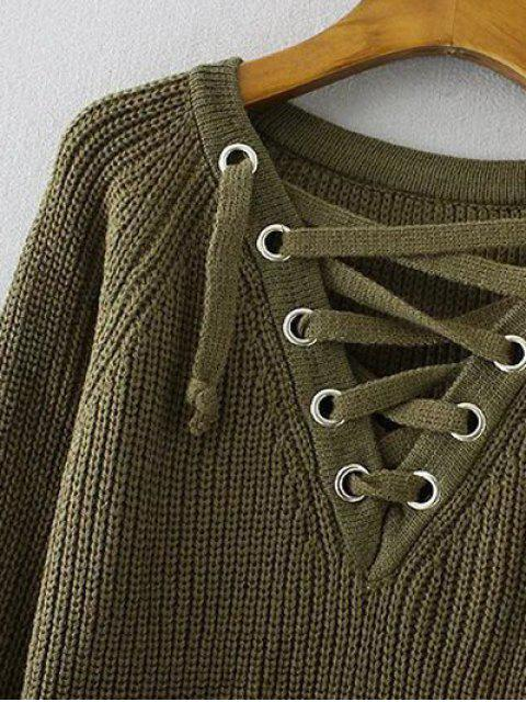 trendy Lace Up V Neck Jumper - APRICOT ONE SIZE Mobile