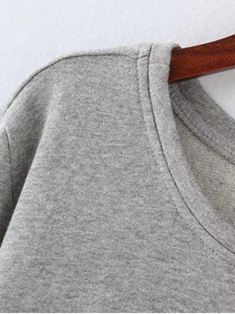 women Opera Mask Print Plus Size Sweatshirt - GRAY XL Mobile