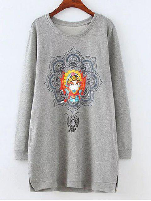 buy Opera Mask Print Plus Size Sweatshirt - GRAY 3XL Mobile