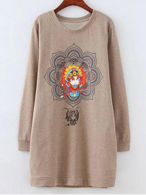 lady Opera Mask Print Plus Size Sweatshirt - LIGHT COFFEE 2XL Mobile