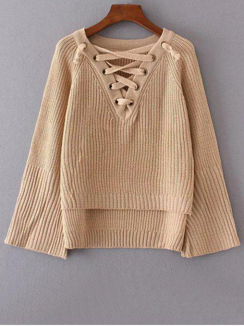 fashion High Low Lace Up Sweater - KHAKI ONE SIZE Mobile