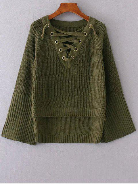chic High Low Lace Up Sweater - GREEN ONE SIZE Mobile