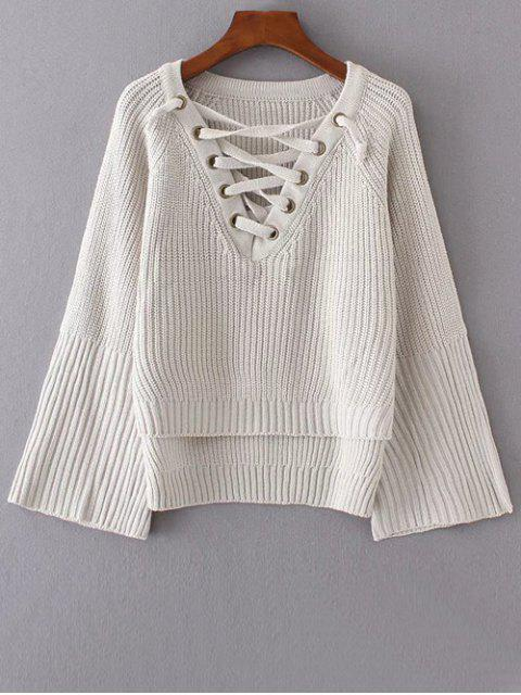 fancy High Low Lace Up Sweater - CRYSTAL CREAM ONE SIZE Mobile