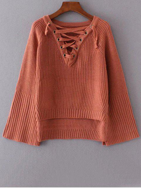 Schnürung Pullover mit hohem niedrigem Saum - Ziegelrot Eine Größe Mobile