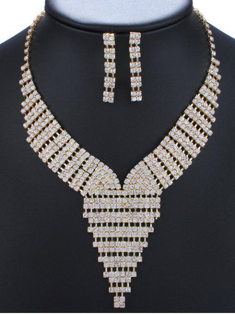 Rhinestoned Dreieck Adorn Halskette und Ohrringe - Golden  Mobile