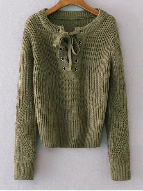 buy Round Neck Lace Up Jumper - GREEN ONE SIZE Mobile