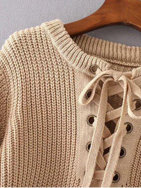 women Round Neck Lace Up Jumper - APRICOT ONE SIZE Mobile