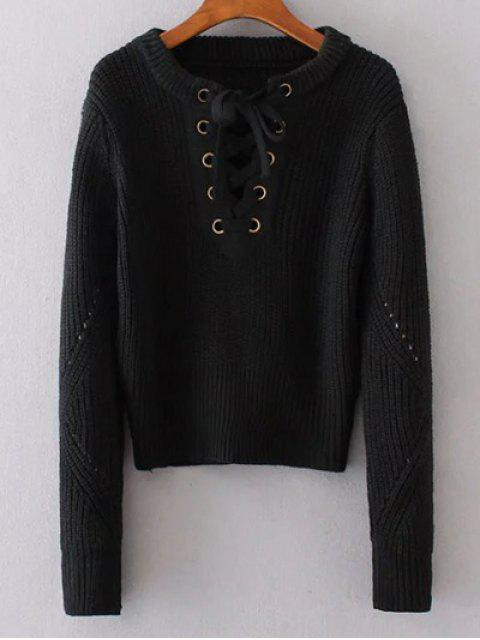 womens Round Neck Lace Up Jumper - BLACK ONE SIZE Mobile