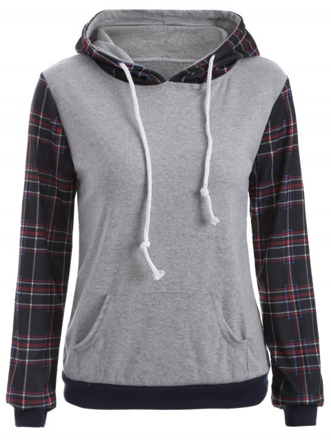 Checked Pocket Hoodie - Schwarz S Mobile