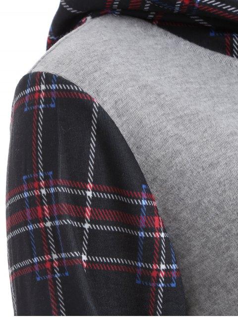 fashion Checked Pocket Hoodie - BLACK L Mobile