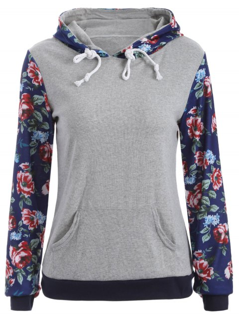 unique Pocket Floral Hoodie - GRAY XL Mobile
