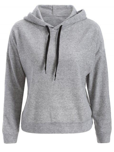 trendy Back Slit Casual Hoodie - GRAY M Mobile