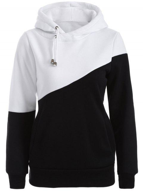 chic Casual Color Block Hoodie - WHITE AND BLACK XL Mobile