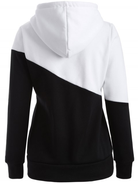 fancy Casual Color Block Hoodie - WHITE AND BLACK L Mobile