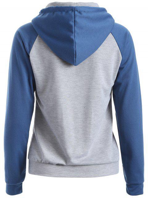 shop Casual Raglan Sleeve Hoodie - BLUE XL Mobile