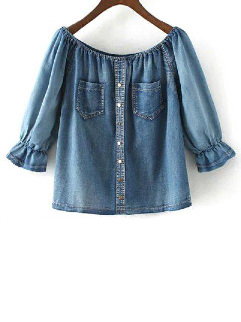 outfits Off The Shoulder Pockets Jean Blouse - DENIM BLUE S Mobile