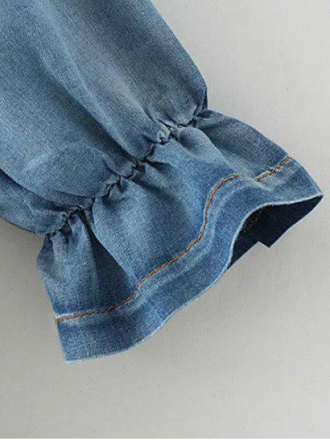 outfit Off The Shoulder Pockets Jean Blouse - DENIM BLUE M Mobile
