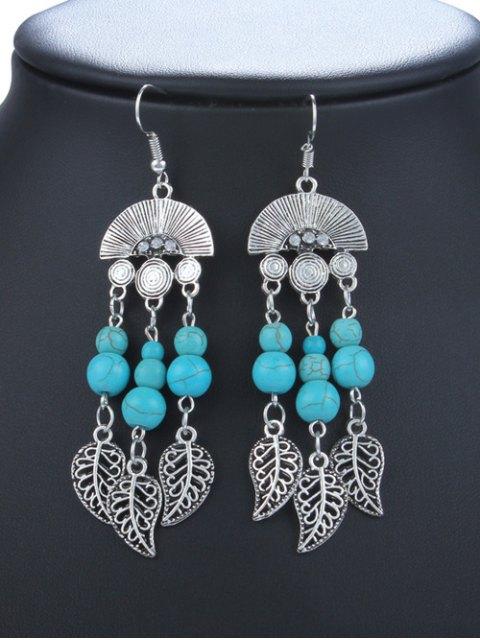 women Bohemian Turquoise Leaf Chandelier Earrings -   Mobile