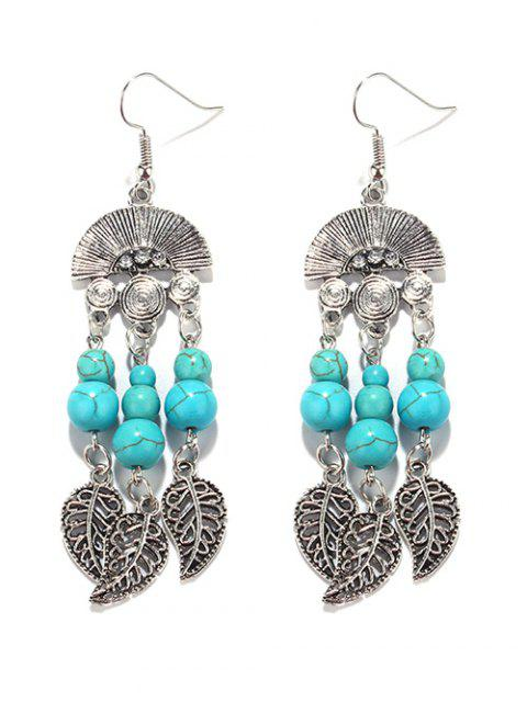 women Bohemian Turquoise Leaf Chandelier Earrings -   Mobile