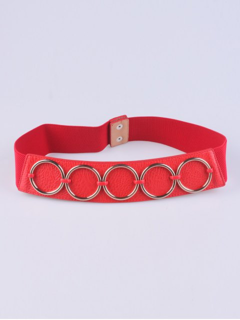 sale Tiered Matel Buckle Stretch Belt - RED  Mobile