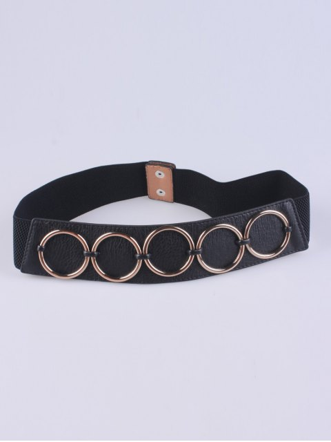 affordable Tiered Matel Buckle Stretch Belt - BLACK  Mobile