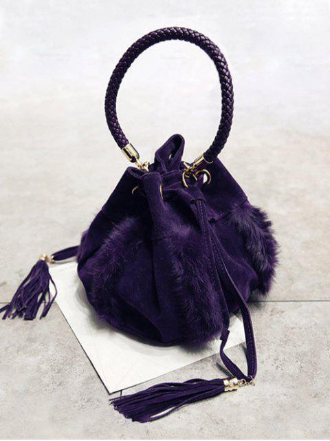 Braid Tassel Furry Bucket Bag - Pourpre  Mobile
