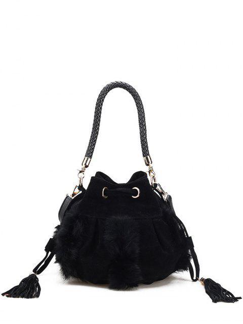 sale Braid Tassel Furry Bucket Bag - BLACK  Mobile