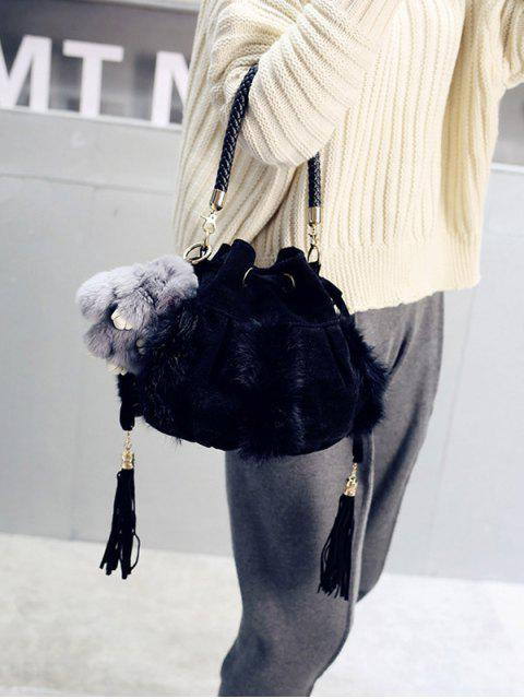 sale Braid Tassel Furry Bucket Bag -   Mobile