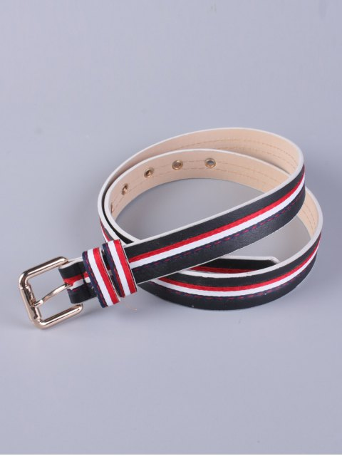 buy Multicolor Stripy Pin Buckle Belt - BLACK  Mobile