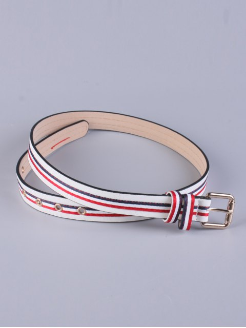womens Multicolor Stripy Pin Buckle Belt - WHITE  Mobile