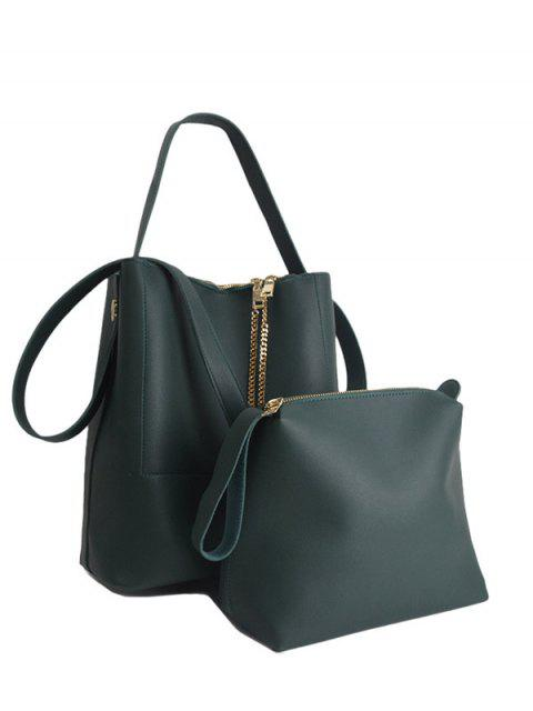 shops Concise Chains PU Leather Shoulder Bag -   Mobile