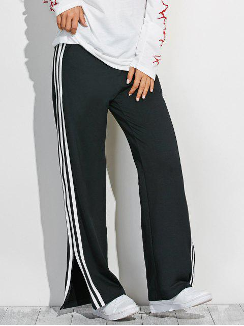 new Side Slit Wide Leg Pants - BLACK ONE SIZE Mobile