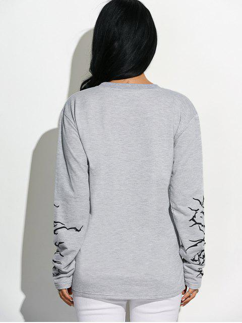 Ras du cou Graphic Sleeve Sweatshirt - Gris Clair L Mobile