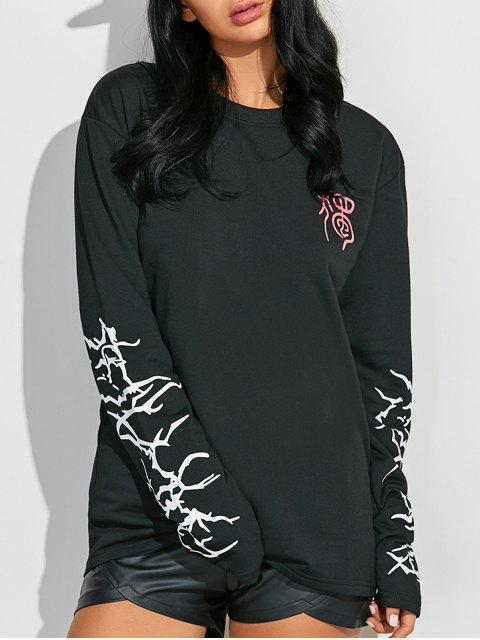 lady Crew Neck Graphic Sleeve Sweatshirt - BLACK M Mobile