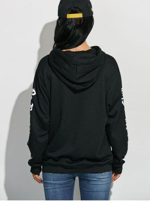 new Letter Graphic Sleeve Pullover Hoodie - BLACK ONE SIZE Mobile
