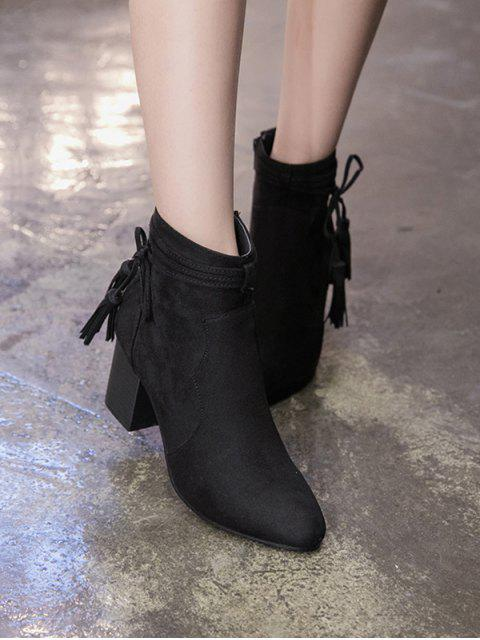 outfit Tassels Zipper Chunky Heel Ankle Boots - BLACK 37 Mobile