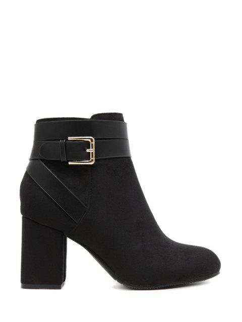 fashion Buckle Chunky Heel Cross Straps Ankle Boots - BLACK 37 Mobile
