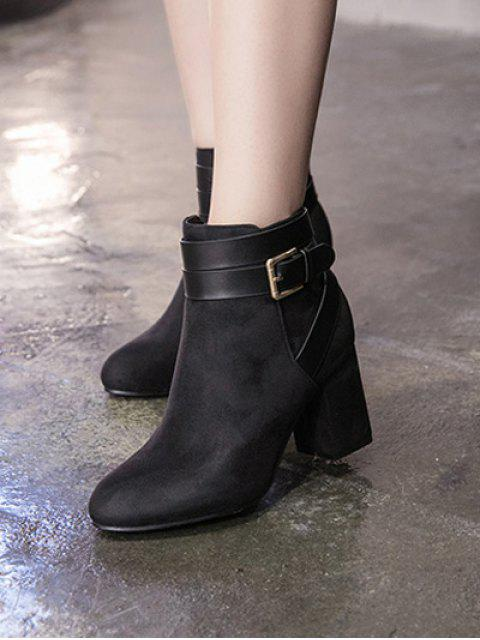 chic Buckle Chunky Heel Cross Straps Ankle Boots - BLACK 38 Mobile