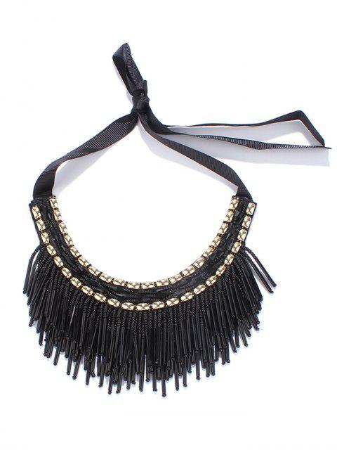 Perlen Quaste Band-Halsketten - Schwarz  Mobile