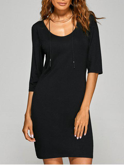 ladies Scoop Neck 3/4 Sleeve Bodycon Dress - BLACK L Mobile