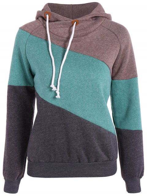 trendy Color Block Long Sleeve Pullover Hoodie - KHAKI S Mobile